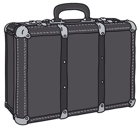 carryall: Hand drawing of an old leather suitcase