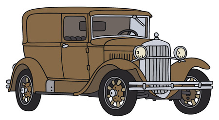 old timer: Hand drawing of a vintage van - not a real type Illustration