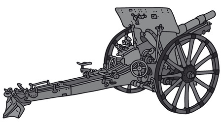 bombard: Hand drawing of a gray vintage cannon