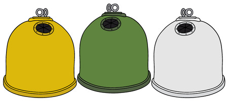 refuse: Hand drawing of three recycling containers Illustration