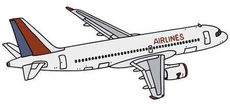 clipper: Hand drawing of an airliner - not a real type Illustration