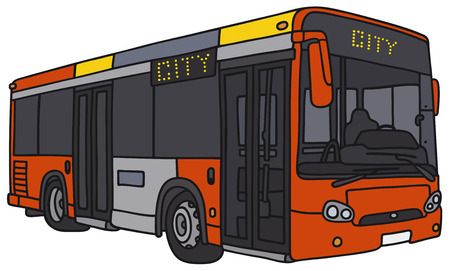 motor coach: Vector illustration of hand-drawn red city bus - not a real model Illustration