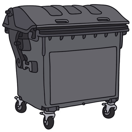 leavings: Hand drawing of a black garbage container Illustration