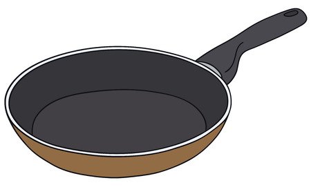 fryer: Hand drawing of a teflon pan
