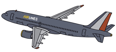 airliner: Hand drawing of a dark blue airliner - not a real type