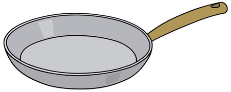 fryer: Hand drawing of a stainless steel pan