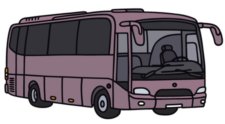motor coach: Vector illustration of hand-drawn violet touring bus - not a real model Illustration