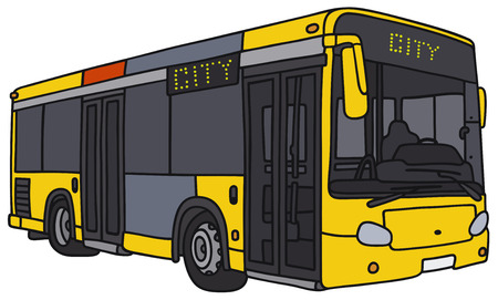 cartoon land: Vector illustration of hand-drawn yellow city bus - not a real model Illustration