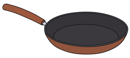 fryer: Hand drawing of a red frying pan Illustration