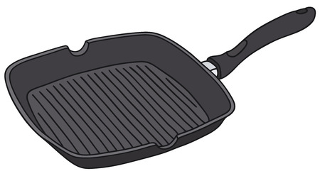 fry: Hand drawing of a square fry pan