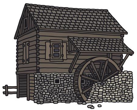 molino de agua: Gráfico de la mano de un antiguo molino de agua de madera