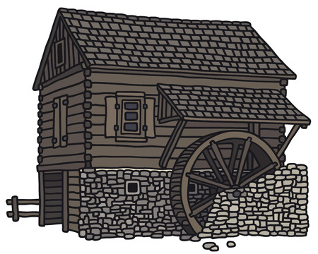 Hand drawing of an old wooden water mill