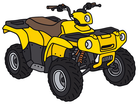 Hand drawing of a funny yellow ATV - not a real model Vettoriali