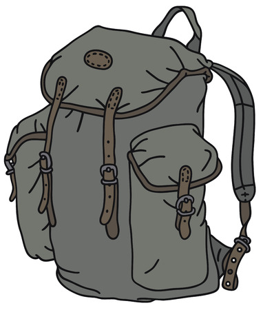 knapsack: Hand drawing of a classic rucksack