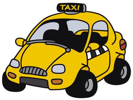 motor de carro: Gr�fico de la mano de un taxi amarillo divertido - no es un modelo real