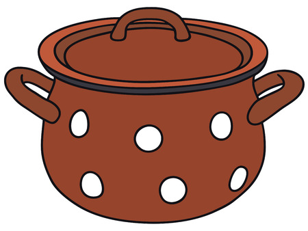 boiling point: Hand drawing of an old red pot