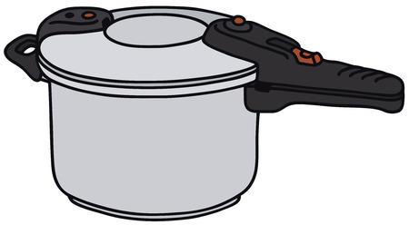 Vector illustratie van de hand getekende snelkookpan