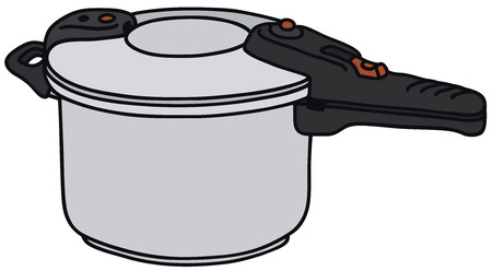 stainless steel pot: Vector illustration of hand drawn pressure cooker