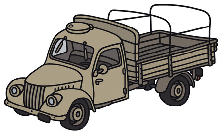 Hand drawing of a classic military truck - not a real model Vector