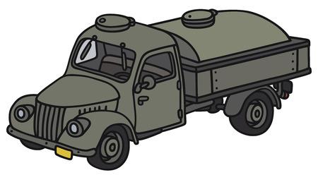 Disegno a mano di un camion cisterna militare classico - non un vero e proprio modello di