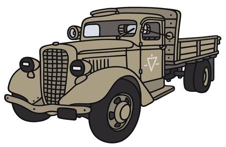 Disegno a mano di un classico camion militare - non � un vero e proprio modello Vettoriali