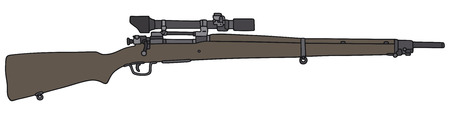 Hand drawing of an old military snipers rifle