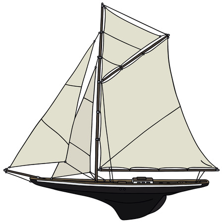 sailer: Hand drawing of a classic sailing yacht - not a real model Illustration