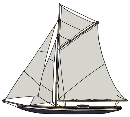 Hand drawing of a vintage sailing yacht - not a real model Illustration