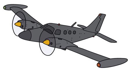 twin engine: Hand drawing of a twin engine propeller aircraft - not a real model
