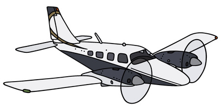 twin engine: Hand drawing of a twin engine propeller airplane - not a real model