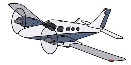 手描きのツイン エンジンのプロペラ飛行機 - 実際のモデルではないの