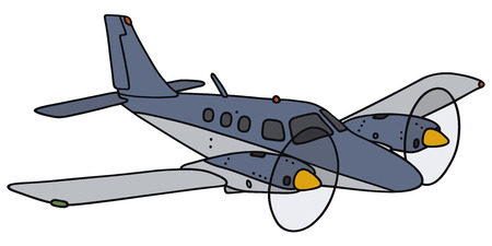 twin engine: Hand drawing of a blue twin engine propeller airplane - not a real model