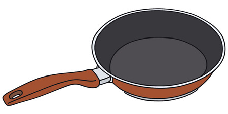 fryer: Hand drawing of a red nonadhesive pan