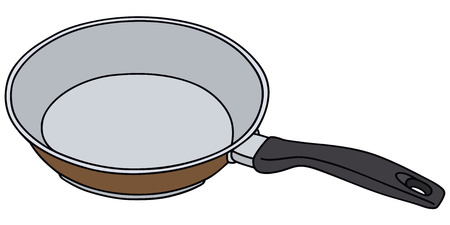 fryer: Hand drawing of a brown pan Illustration