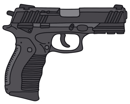 handgun: Hand drawing of a handgun - not a real model Illustration