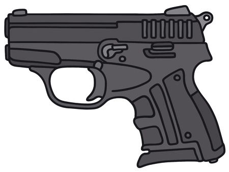 handgun: Hand drawing of a small handgun - not a real model