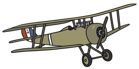 Disegno a mano di un biplano militari d'epoca - non un vero e proprio modello di Vettoriali