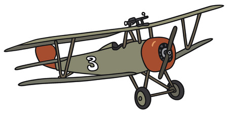 biplane: Hand drawing of a vintage military biplane - not a real model