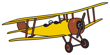 biplane: Hand drawing of an old yellow biplane - not a real model