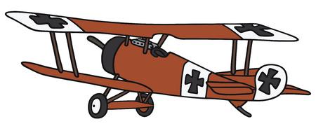 Disegno a mano di una vendemmia biplano militare germania - non un vero e proprio modello di