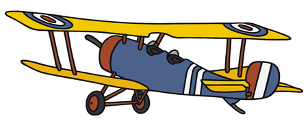 biplane: Hand drawing of a vintage biplane - not a real model