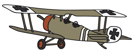 biplane: Hand drawing of a vintage germany military biplane - not a real model Illustration