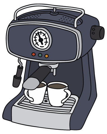 percolator: Hand drawing of a blue electric espresso maker - not a real type