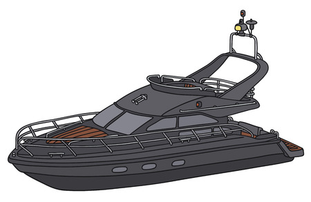sailer: Hand drawing of a black motot yacht - not a real model
