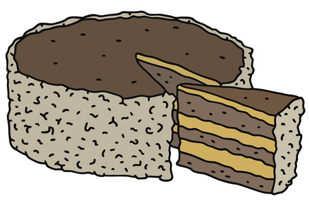 Hand drawing of a cream cake
