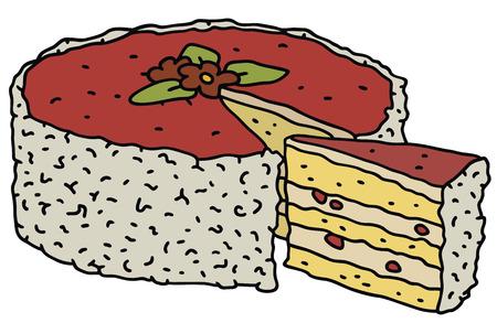 junket: Hand drawing of a fruit cake Illustration