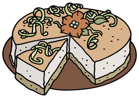junket: Hand drawing of a light cream cake