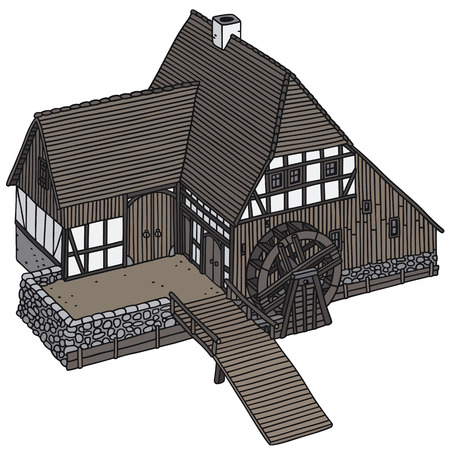 watermill: Hand drawing of an old wooden water mill