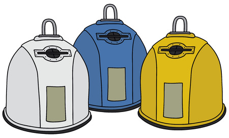 leavings: Hand drawing of three recycling garbage containers