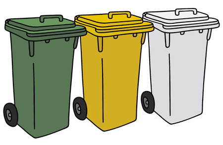 leavings: Hand drawing of three plastic recycling garbage containers